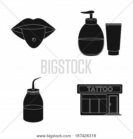 Piercing in tongue, gel, sallon. Tattoo set collection icons in black style vector symbol stock illustration .