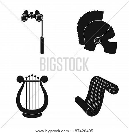 Theatrical binoculars, a helmet, a harp and a paper scroll. The theater set collection icons in black style vector symbol stock illustration .