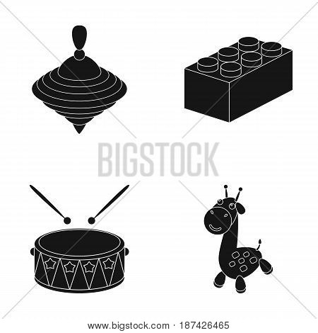 Yula, lego, drum, giraffe.Toys set collection icons in black style vector symbol stock illustration .