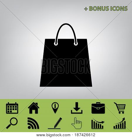 Shopping bag illustration. Vector. Black icon at gray background with bonus icons