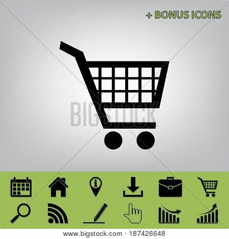 Shopping cart sign. Vector. Black icon at gray background with bonus icons