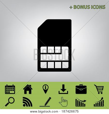 Sim card sign. Vector. Black icon at gray background with bonus icons