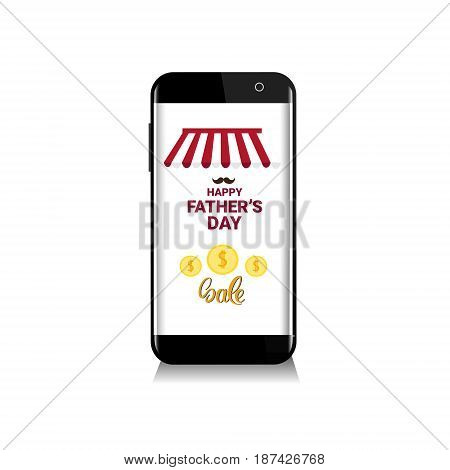 Happy Father Day Holiday Sale Online Shopping Discount Banner Vector Illustration