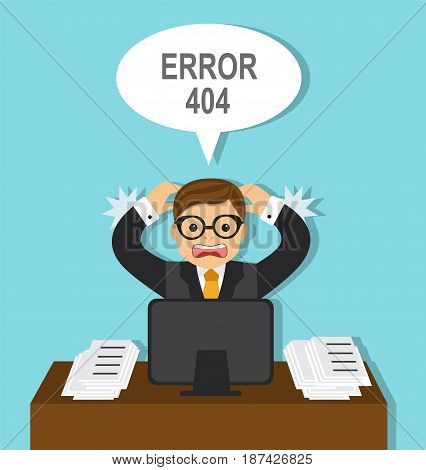 The frightened businessman sits at the computer and grabs his hands behind his head. Computer displays error 404
