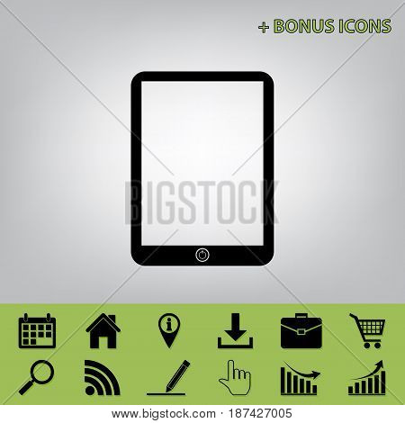 Computer tablet sign. Vector. Black icon at gray background with bonus icons