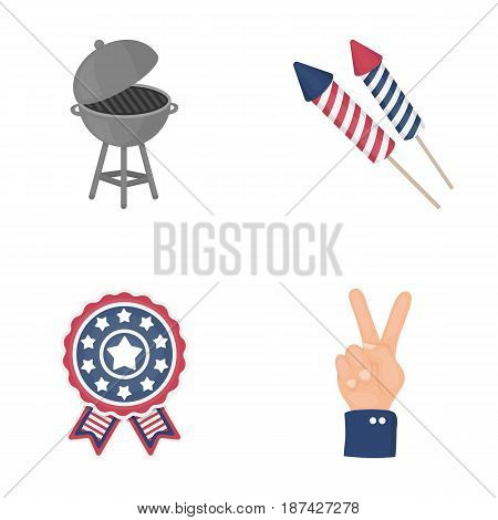 Barbecue, salute, voting ebblema, victory. The patriot s day set collection icons in cartoon style vector symbol stock illustration .