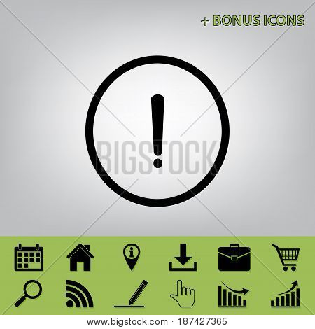 Exclamation mark sign. Vector. Black icon at gray background with bonus icons at celery ones