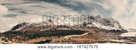 Columbia Icefield panorama with snow covered mountains in Banff Jasper National Park, Canada.