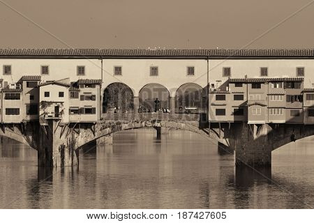 Ponte Vecchio over Arno River in Florence Italy.