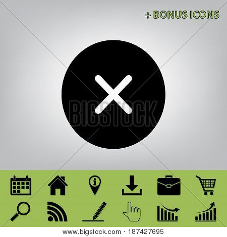 Cross sign illustration. Vector. Black icon at gray background with bonus icons at celery ones