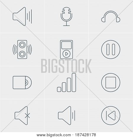 Vector Illustration Of 12 Music Icons. Editable Pack Of Lag, Amplifier, Mp3 And Other Elements.