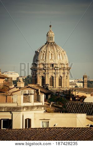 Rooftop view of Rome historical architecture and city skyline. Italy.