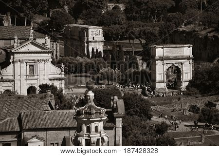 Rome rooftop view with ancient architecture monochrome in Italy.