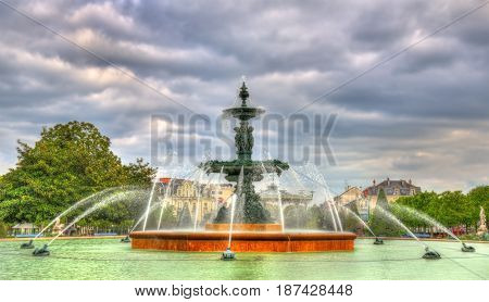 Fountain in Jardin du Mail of Angers in France