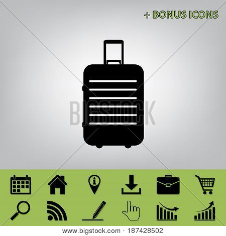 Baggage sign illustration. Vector. Black icon at gray background with bonus icons at celery ones