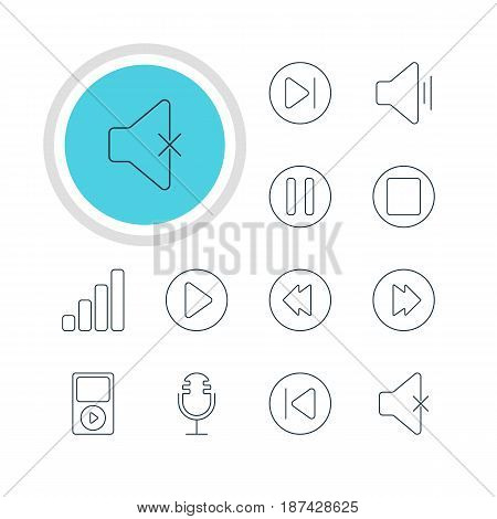 Vector Illustration Of 12 Music Icons. Editable Pack Of Start, Pause, Advanced And Other Elements.