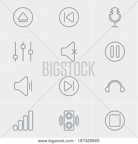 Vector Illustration Of 12 Music Icons. Editable Pack Of Acoustic, Amplifier, Lag And Other Elements.