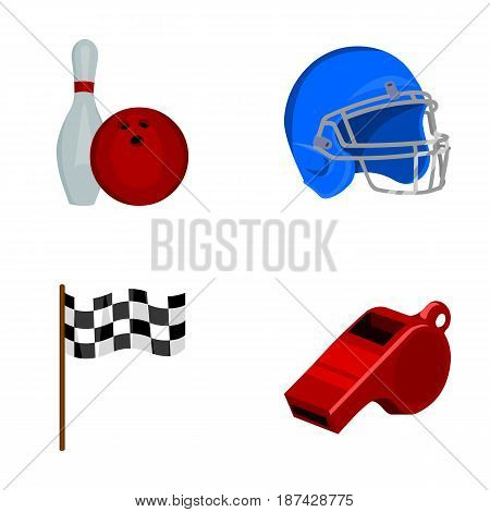 Bowl and bowling pin for bowling, protective helmet for playing baseball, checkbox, referee, whistle for coach or referee. Sport set collection icons in cartoon style vector symbol stock illustration .