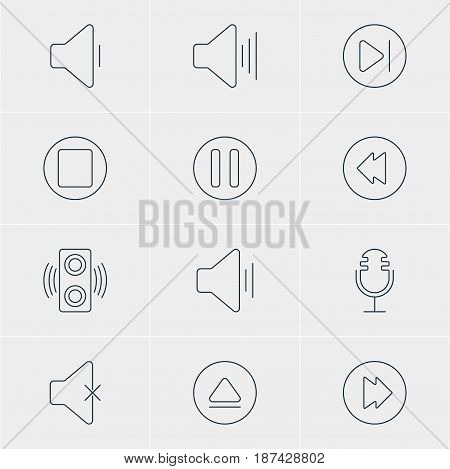 Vector Illustration Of 12 Melody Icons. Editable Pack Of Volume Up, Mike, Subsequent And Other Elements.