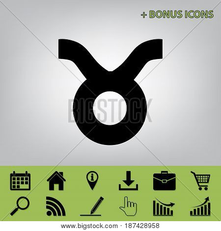 Taurus sign illustration. Vector. Black icon at gray background with bonus icons at celery ones