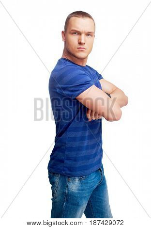 portrait of a serious young man isolated against white background