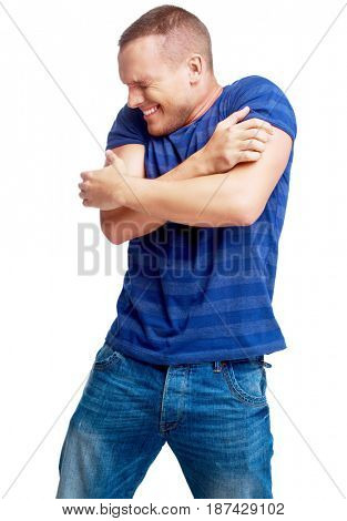 portrait of a scared young man    isolated against white background