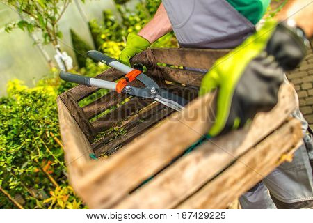 Garden Work Time. Gardener with Wooden Crate and Large Scissors Preparing For a Spring Greenhouse Work.