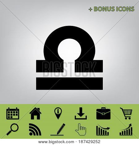 Libra sign illustration. Vector. Black icon at gray background with bonus icons at celery ones