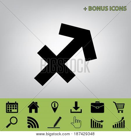 Sagittarius sign illustration. Vector. Black icon at gray background with bonus icons at celery ones