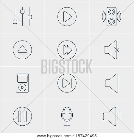 Vector Illustration Of 12 Melody Icons. Editable Pack Of Stabilizer, Start, Mp3 And Other Elements.