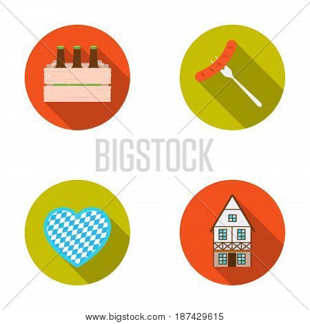 Box with beer, fried sausage, heart of the festival, Bavarian cottage. Oktoberfestset collection icons in flat style vector symbol stock illustration