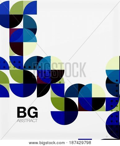 Colorful circles modern abstract composition with text. Geometric background. template background for workflow layout, diagram, number options or web design