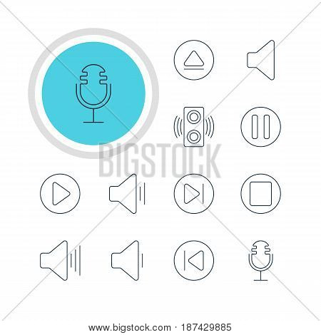 Vector Illustration Of 12 Music Icons. Editable Pack Of Pause, Lag, Preceding And Other Elements.