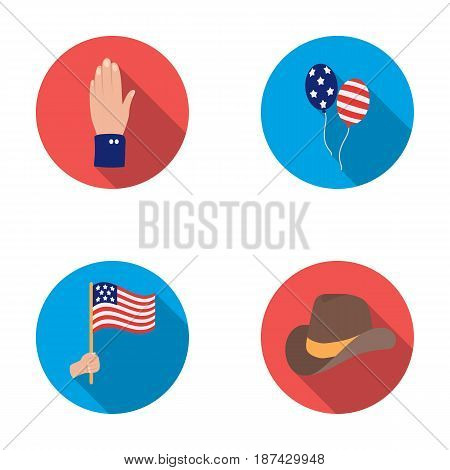 Balloons, national flag, cowboy hat, palm hand.Patriot day set collection icons in flat style vector symbol stock illustration .