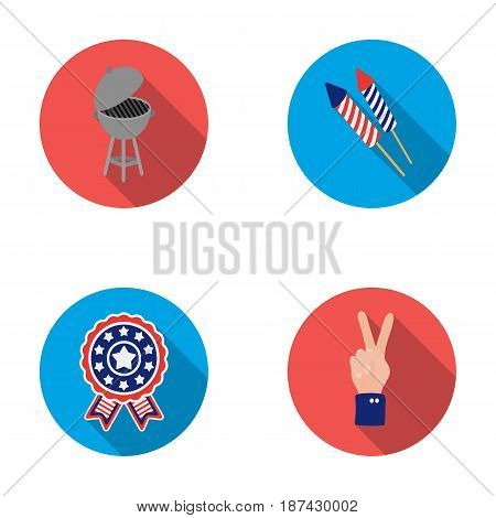 Barbecue, salute, voting ebblema, victory. The patriot s day set collection icons in flat style vector symbol stock illustration .