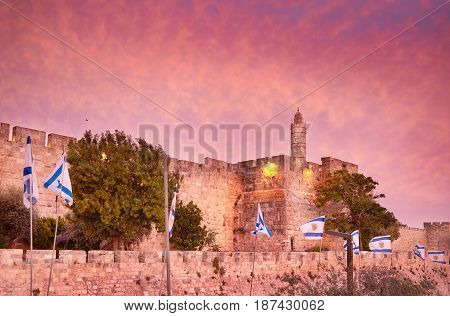 Walls of Ancient City at sunset, David's tower and citadel, Jerusalem, Israel