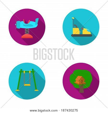 Airplane on a spring, swings and other equipment. Playground set collection icons in flat style vector symbol stock illustration .