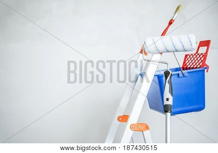 Room Painting Equipment. Ladder Painting Brush and Roller.