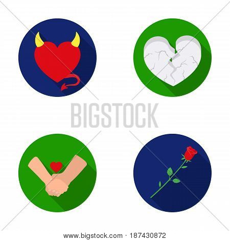 Evil heart, broken heart, friendship, rose. Romantic set collection icons in flat style vector symbol stock illustration .