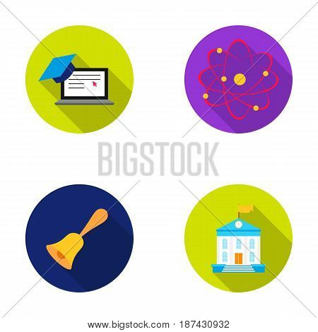 Computer, cap, atom, nucleus, bell, university building. School set collection icons in flat style vector symbol stock illustration .