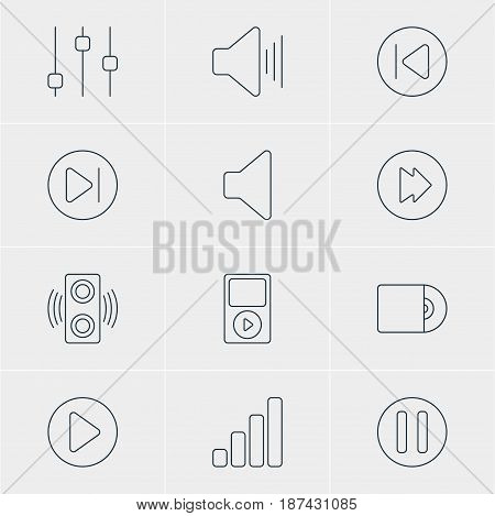 Vector Illustration Of 12 Music Icons. Editable Pack Of Subsequent, Volume Up, Acoustic And Other Elements.