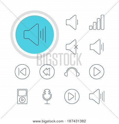 Vector Illustration Of 12 Melody Icons. Editable Pack Of Volume Up, Start, Reversing And Other Elements.