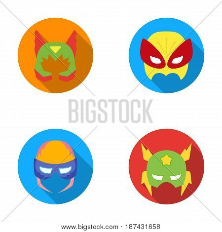 Mask on the head, helmet.Mask super hero set collection icons in flat style vector symbol stock illustration .