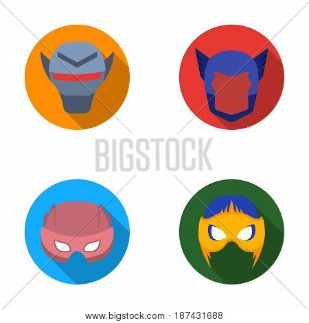 Helmet, mask on the head.Mask super hero set collection icons in flat style vector symbol stock illustration .