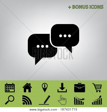 Speech bubbles sign. Vector. Black icon at gray background with bonus icons at celery ones