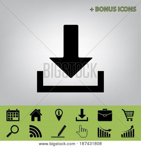 Download sign illustration. Vector. Black icon at gray background with bonus icons at celery ones