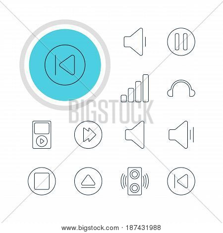 Vector Illustration Of 12 Melody Icons. Editable Pack Of Advanced, Speaker, Earphone And Other Elements.