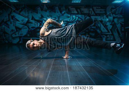 Hip hop action, dancer motions in dance studio