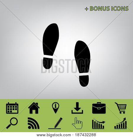 Imprint soles shoes sign. Vector. Black icon at gray background with bonus icons at celery ones