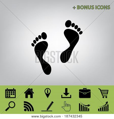Foot prints sign. Vector. Black icon at gray background with bonus icons at celery ones